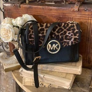 Michael Kors leather leopard calf hair crossbody